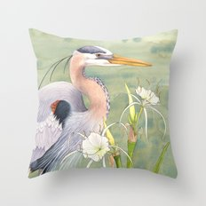 Great Blue Heron and Spider Lilies Throw Pillow
