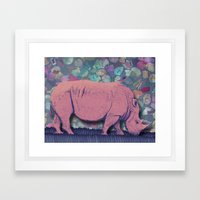 Pink Rhinoceros Collage Framed Art Print