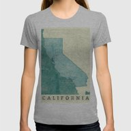 California Map Blue Vint… Womens Fitted Tee Athletic Grey X-LARGE