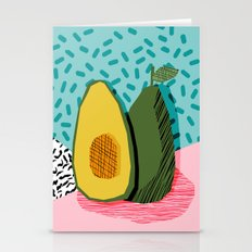 Choice - wacka memphis throwback retro neon fruit avocado vegetable vegan vegetarian art decor Stationery Cards