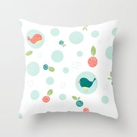 Birds with Polka Dots Throw Pillow