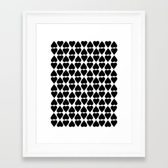 Diamond Hearts Repeat Black Framed Art Print