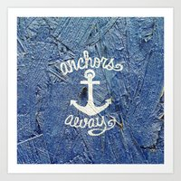 White Nautical Anchors B… Art Print