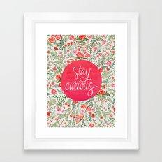 Stay Curious – Pink & Green Framed Art Print