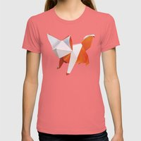 Origami Fox Womens Fitted Tee Pomegranate SMALL
