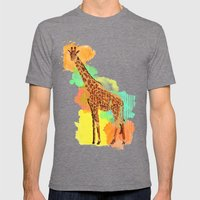 GIRAFFE: THE GENTLE GIANT Mens Fitted Tee Tri-Grey SMALL