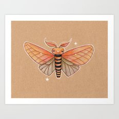 Un-Natural Selection: Carmine Stripee Halloween Moth Art Print