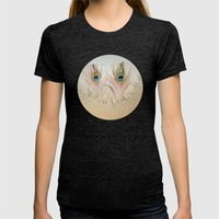 Staring Out The Icy Wind… Womens Fitted Tee Tri-Black SMALL