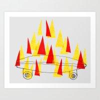 Flaming Skateboard Art Print