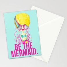 golden.  a happy mermaid Stationery Cards