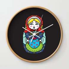 16bit Matrioska Black Background Wall Clock