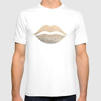 GOLD LIPS Mens Fitted Tee White SMALL
