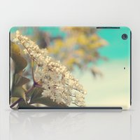 White flowers on blue sky (Retro flower photography) iPad Case