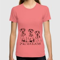 Three Dalmatians Dogs Womens Fitted Tee Pomegranate SMALL