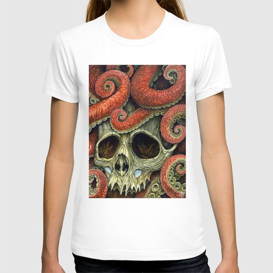 orange tentacles skull T-shirt