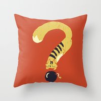Question Mark (Curiosity Kills The Cat) Throw Pillow