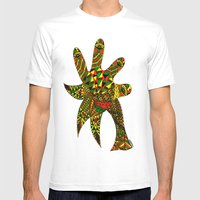 Finger Palm Tree Mens Fitted Tee White SMALL