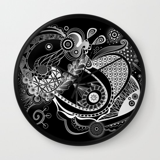 Spring tangle, black Wall Clock