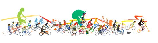 Bike Parade Print Canvas Print