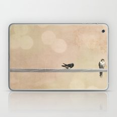 2 birds on a wire peach Laptop & iPad Skin