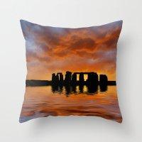Stonehenge Sunrise, Wiltshire Throw Pillow
