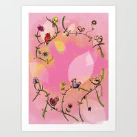 Birds - Pink Art Print