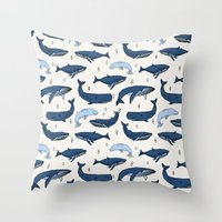 Whales by Andrea Lauren Throw Pillow