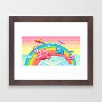 Rainbow elephants Framed Art Print