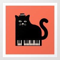 Cool Cat On Piano Art Print