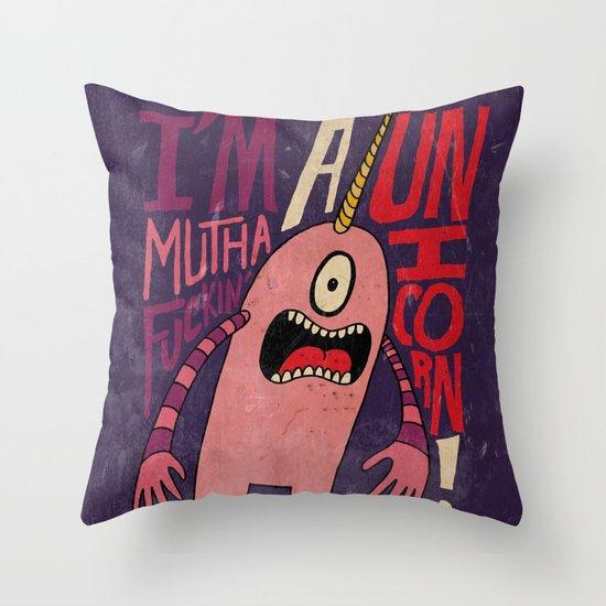 Mutha F'n Unicorn Throw Pillow