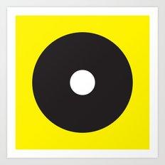 White dot on black on yellow Art Print