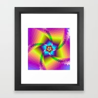 Whirligig in Yellow Blue and Green Framed Art Print