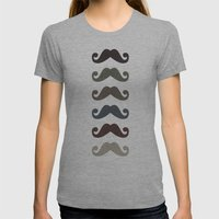Stache Attack Womens Fitted Tee Athletic Grey SMALL