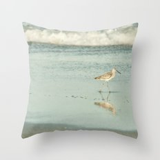 Exit Stage Right -- Willet Foraging Shallow Surf at the Beach Throw Pillow