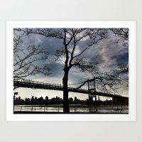 Bridge and Bare Trees Art Print