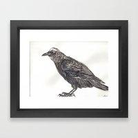 Watercolor Crow Framed Art Print