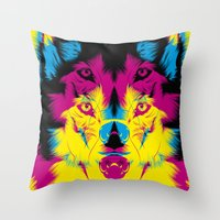 Wolf CMYK Throw Pillow