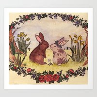 Bunnies in love Art Print