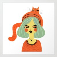 CAT BONNET Art Print