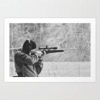 Young Shooter-B&W Art Print