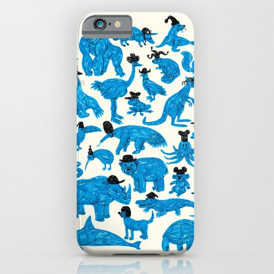 Blue Animals Black Hats iPhone & iPod Case