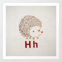 H Hedgehog Art Print