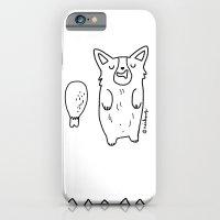 iPhone & iPod Case featuring Corgi Sleeping with a turkey leg by Geordi the corgi