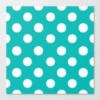 Polka Dots (White/Tiffany Blue) Canvas Print