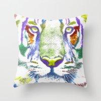 ROAR (tiger color version) Throw Pillow