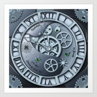 Steampunk clock silver Art Print