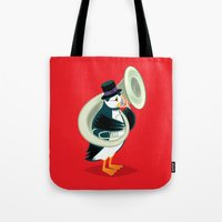 Puffin On A Tuba Tote Bag