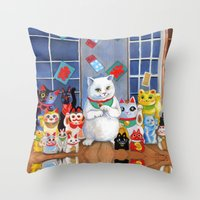 Lucky Cats Throw Pillow