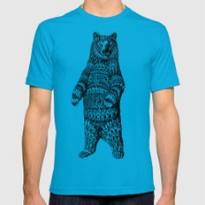 Ornate Grizzly Bear Mens Fitted Tee Teal SMALL