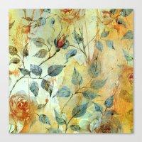 Roses And Orange Splash Canvas Print